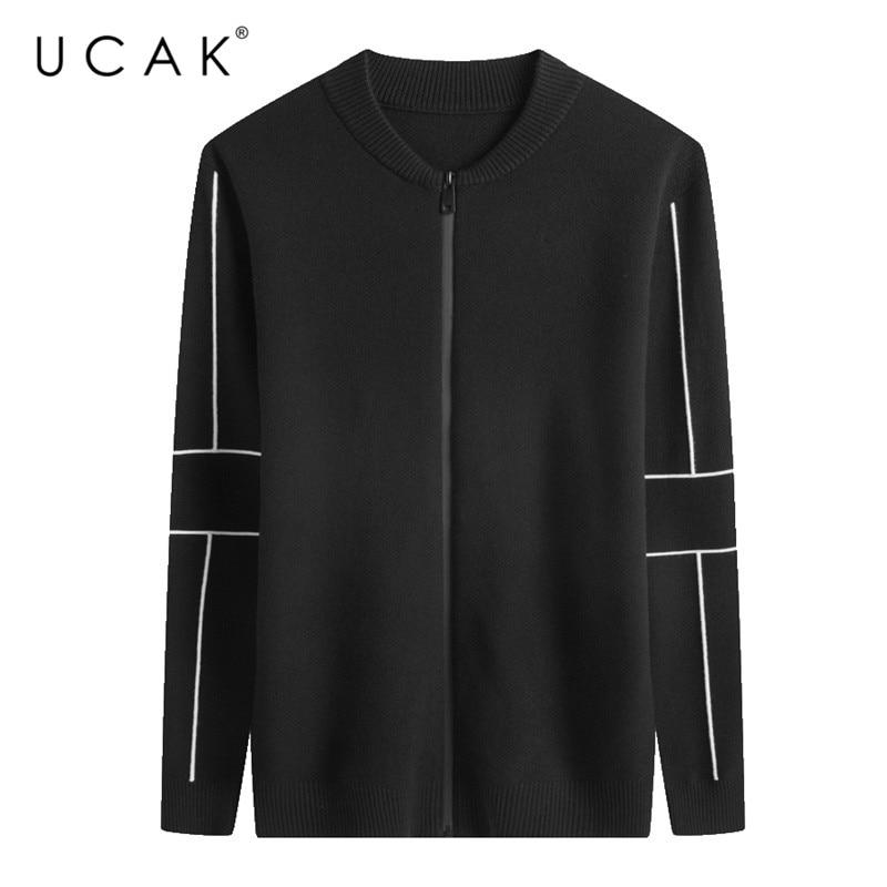 UCAK Brand Sweater Men Cotton Knitwear Streetwear Fashion Coat Men 2019 New Arrival Autumn Winter Warm Cardigan Men Coats U1010