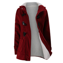 2020 New Autumn Winter Womens Horn Button Coat Slim Warm Woolen Jackets Female Outwear Plus size Hooded Coats for Women 5XL 6XL