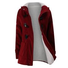 2020 nouveau automne hiver femmes corne bouton manteau mince chaud laine vestes vêtements dextérieur pour femmes grande taille à capuche manteaux pour les femmes 5XL 6XL