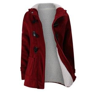 Image 1 - 2020 nowy jesień zima kobiet róg płaszcz z guzikami Slim ciepła, z wełny kurtki damskie znosić Plus size z kapturem płaszcze dla kobiet 5XL 6XL