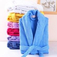 Lovers 100% Cotton Terry Bathrobe Men Women Solid Towel Sleepwear Long Bath Robe