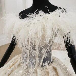 Image 5 - Vestido de Boda de Princesa HTL1248, 2020, cuello de piel, coser cuentas, falda de encaje, Espalda descubierta, Bohemia boda, vestido de manga larga