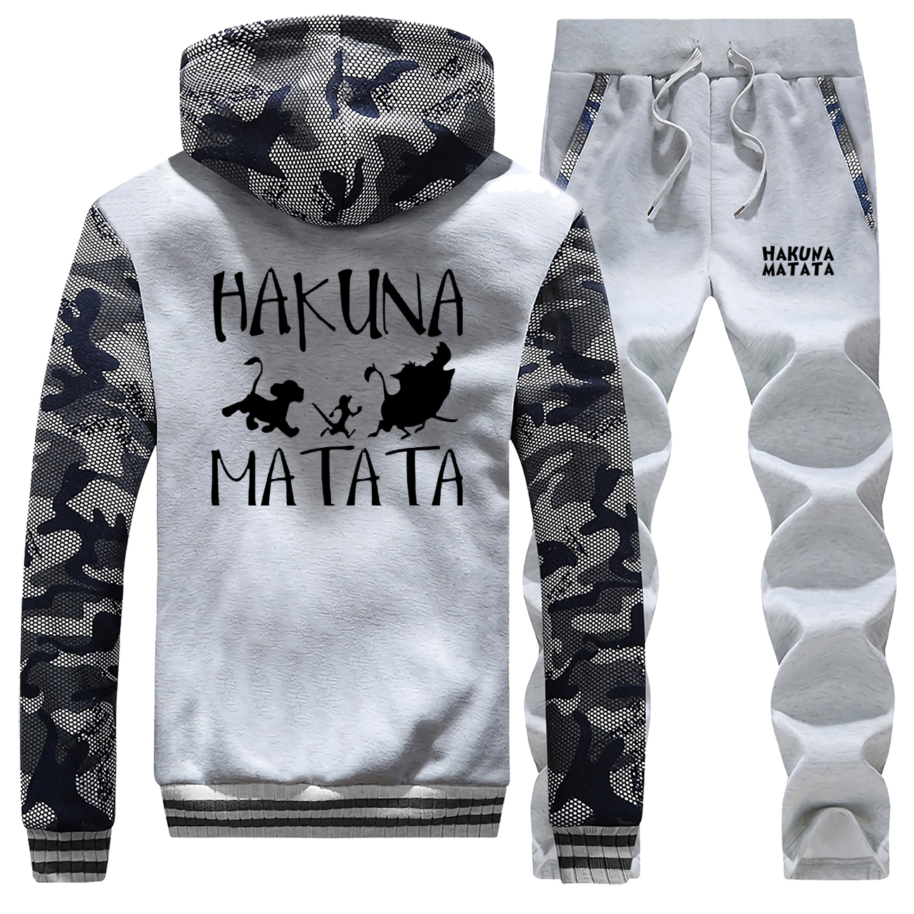 The Lion King Winter Warm Suit Hoodies+Pants 2 Piece Sets HAKUNA MATATA Tracksuit Cartoon Sweatshirt Men's Jacket Men Trousers