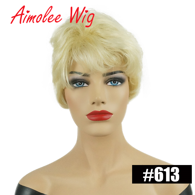 Fluffy Short Natural Wave Wigs Ombre Blonde Highlights Human Hair Blend Wig With Bangs for Women Synthetic Daily Work Party Wig