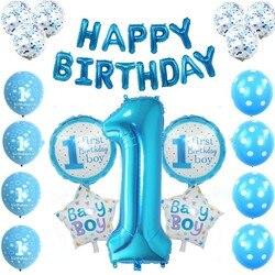 Детский день рождения наряд для первого дня рождения украшения 1st для маленьких мальчиков персонажей мультфильмов «Мой 1 Год Вечерние поста...