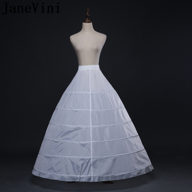 JaneVini 6 Hoop Petticoat Underskirt For Wedding Dress Ball Gown White Adjustable Waist Bridal Crinoline Women Accessories 2019