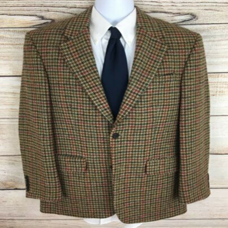 2020 Men's Houndstooth Tweed Blazer Suit Notch Lapel Two Button Dog Tooth Vintage Formal Suits