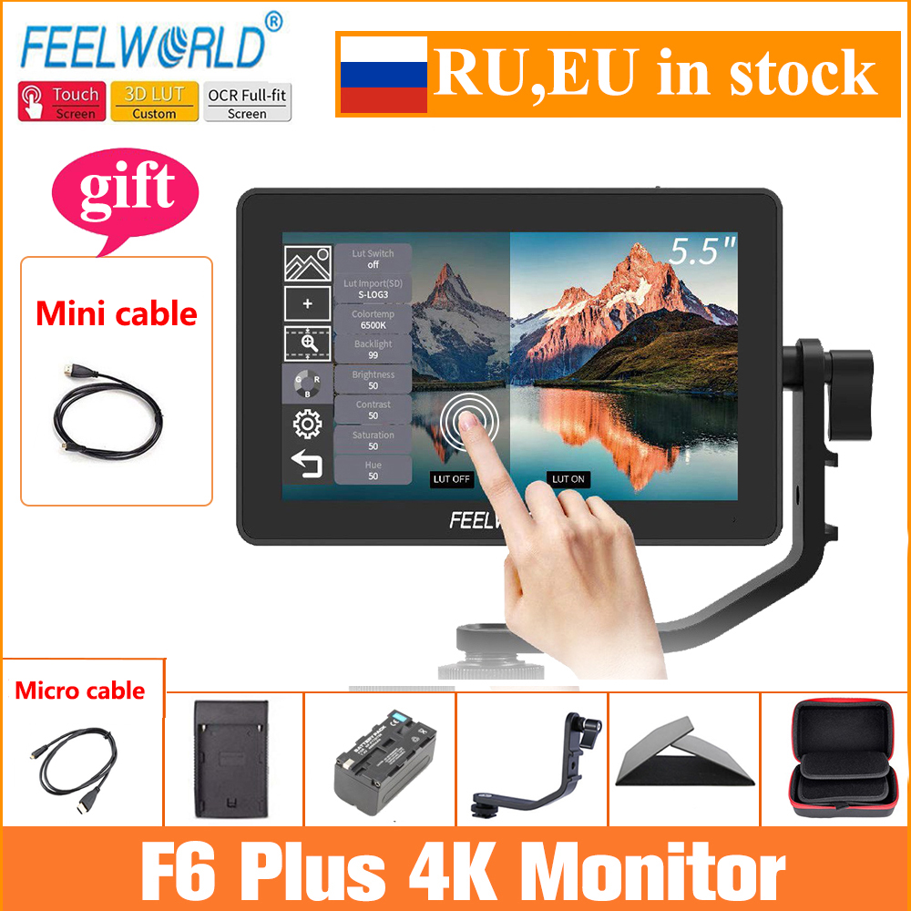 Feelworld Camera Monitor F6 Plus 5 5 Inch 3D Lut Touch Screen 4K HDMI IPS FHD 1920X1080 Monitor for DSLR Camera
