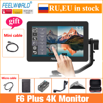 Feelworld Camera Monitor F6 Plus 5.5 Inch 3D Lut Touch Screen 4K HDMI IPS FHD 1920X1080 Monitor for DSLR Camera