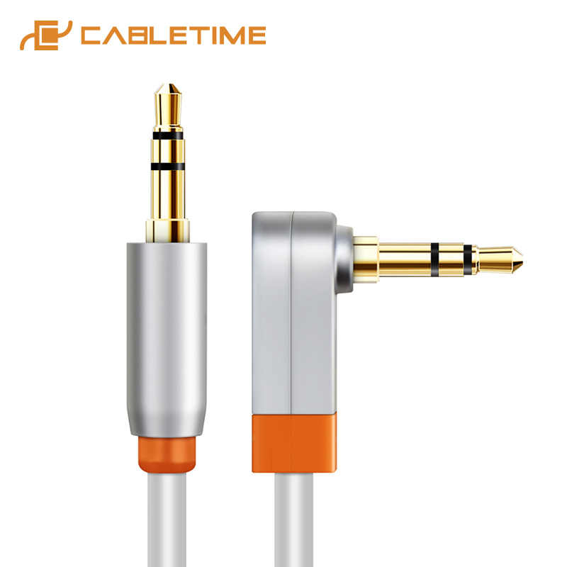 Cabletime Kabel AUX Jack 3.5 Mm Audio Male To Male 90 Derajat 3.5 Jack Speaker Kabel untuk Headphone Mobil xiaomi OnePlus C097