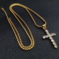 Cross Necklace For Men, Gold Color Stainless Steel Jesus Cross Pendant Necklace Women's Iced Out CZ Bling Bling Jewelry Dropship