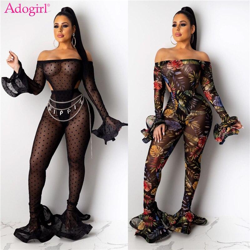 Adogirl Polka Dots Leaf Print Sheer Mesh Two Piece Set Women Sexy Slash Neck Off Shoulder Flare Sleeve Bodysuit Foot Club Pants