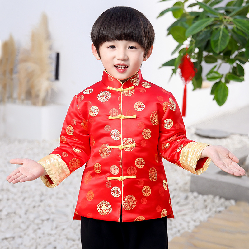 New Boys Hanfu Coat Chinese Style Boys Party Tang Suit Kids Chinese New Year Clothes Boys Traditional China Spring Coat