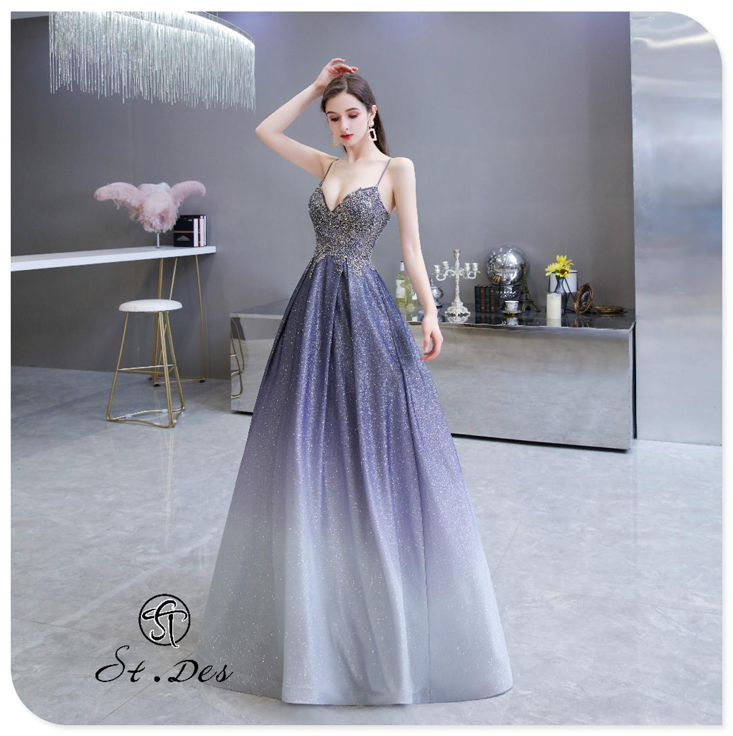 S.T.DES Evening Dress 2020 New Arrival Starry Night Beading A-line V-Neck Sleeveless Floor Length Party Dress Dinner Gowns