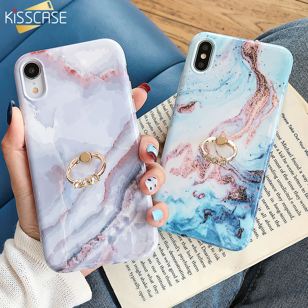 KISSCASE Ultra Thin <font><b>Phone</b></font> <font><b>Case</b></font> For iPhone XR XS MAX X 10 7 8 Marble <font><b>Loop</b></font> <font><b>Ring</b></font> <font><b>Cases</b></font> For iPhone XR 7 8 6S 6 Plus Back Cover Funda image