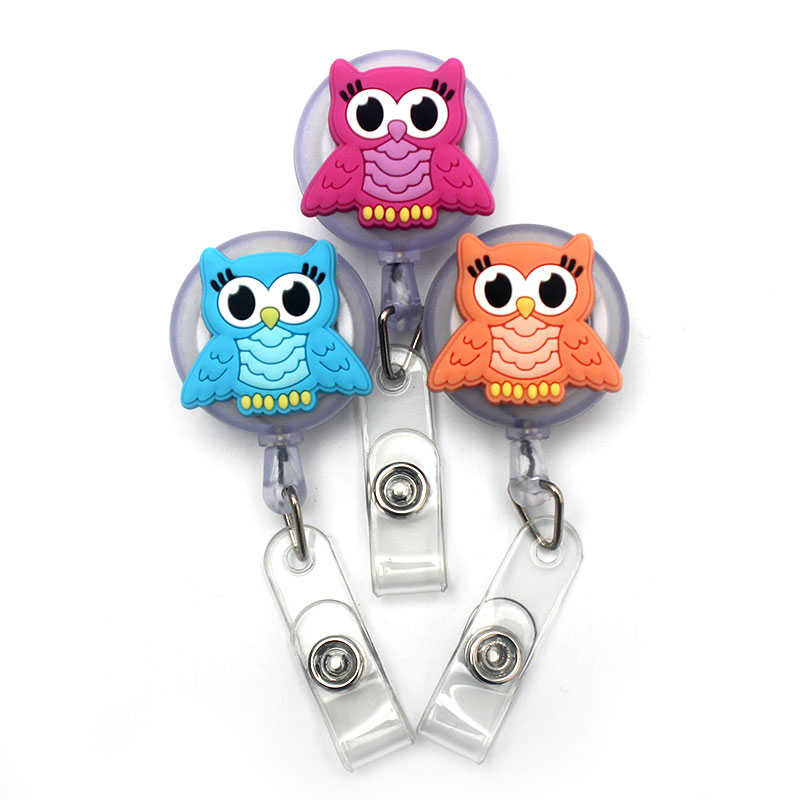 Cute Wings Owl Retractable Creative Plastic Badge Reel Holder Student Nurse Exhibition Enfermera Girl & Boy Name Card Chest Card