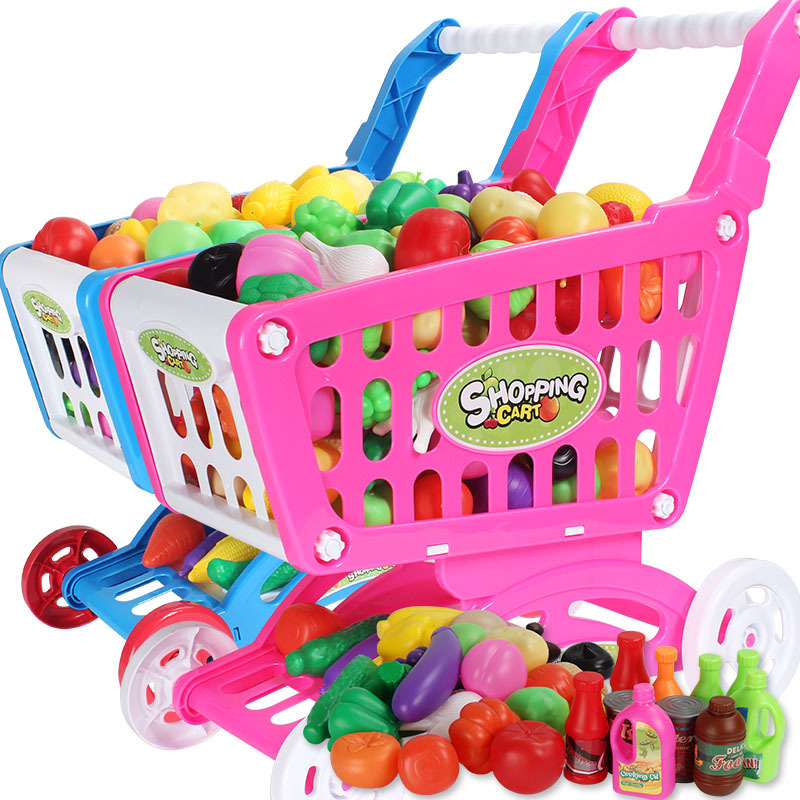 Pink Shopping Trolley Cart Supermarket Trolley Push Car Toys Basket Mini Simulation Fruit Food Pretend Play Toy For Children