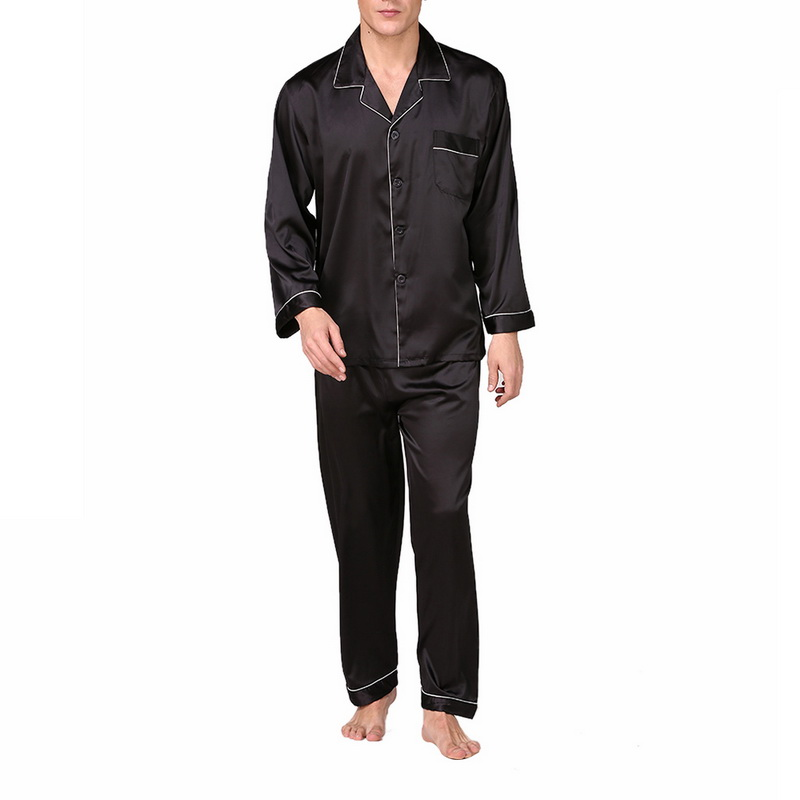 2019 Mens Comportable Pyjamas Set Spring Autumn 2pc Sets Men Sleepwear Pant&Shirt Set Thin Casual Soft Sleepwear