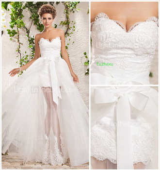 free shipping 2015 vestidos de festa vestido Detachable new Short white ivory lace appliques sweetheart custom wedding dresses цена 2017