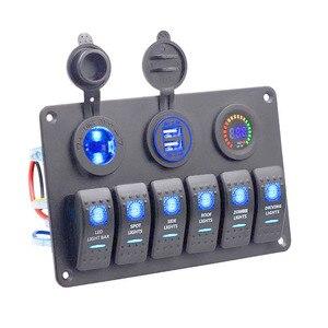 Универсальная автомобильная морская панель 12 В ~ 24 В, цветной цифровой вольтметр + двойной usb-порт + клавишная панель управления с синим свето...