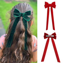 1 Pc Lovely Hair Accessories for Girls Kids Long Ribbon Solid 2020 Hair Bows Clips Cute Velvet Ins Fashion Girls Hair Pins