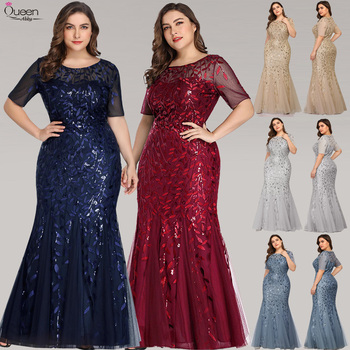 Elegant Lace Evening Dresses Queen Abby Long Sequined Mermaid Sexy Formal Wedding Guest Gowns Party Plus Size Abendkleider 1