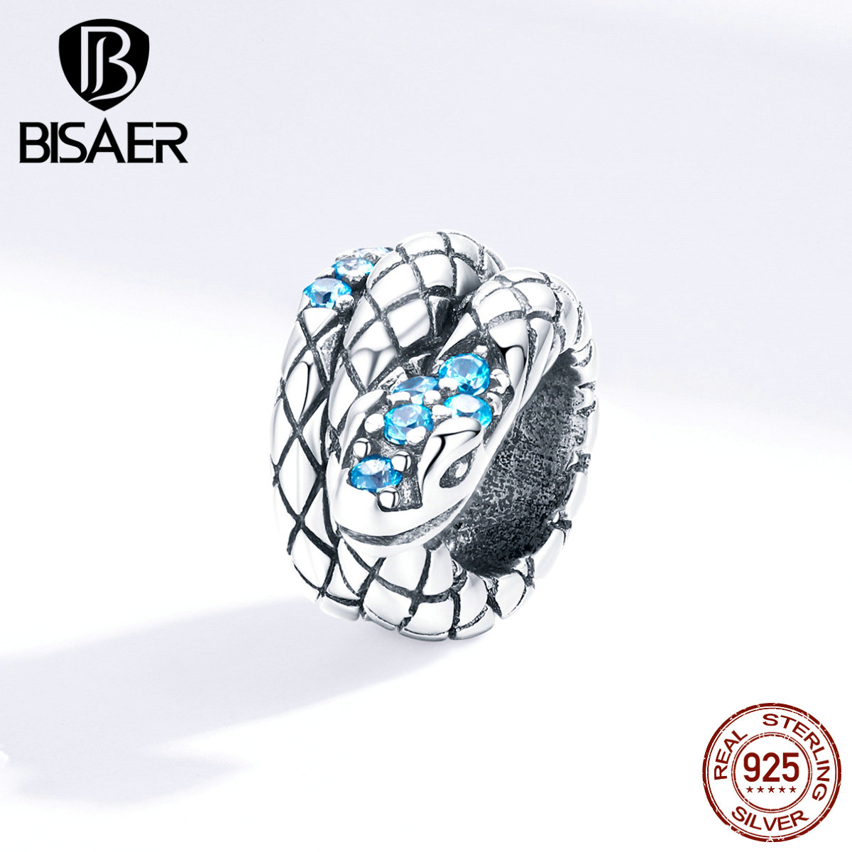 Snake Beads BISAER 925 Sterling Silver Animal Collection Snake Beads Blue Zircon Charms Fit Women Bracelets DIY Jewelry ECC1351