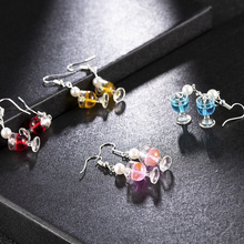 2019 New Funny Women Girls Pearl Wine Cup Goblet Earrings Handmade Drop Earrings Silver Earrings Gifts