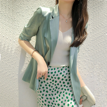 Gao Dingfeng Bright Silk Striped Imitated Fabric Suit Three-Quarter Sleeve Drape Breathable Thin Coat Female Summer