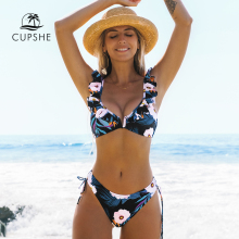 Swimsuit Women Bikini-Sets Bathing-Suits CUPSHE Ruffled Floral Two-Pieces Girl Black
