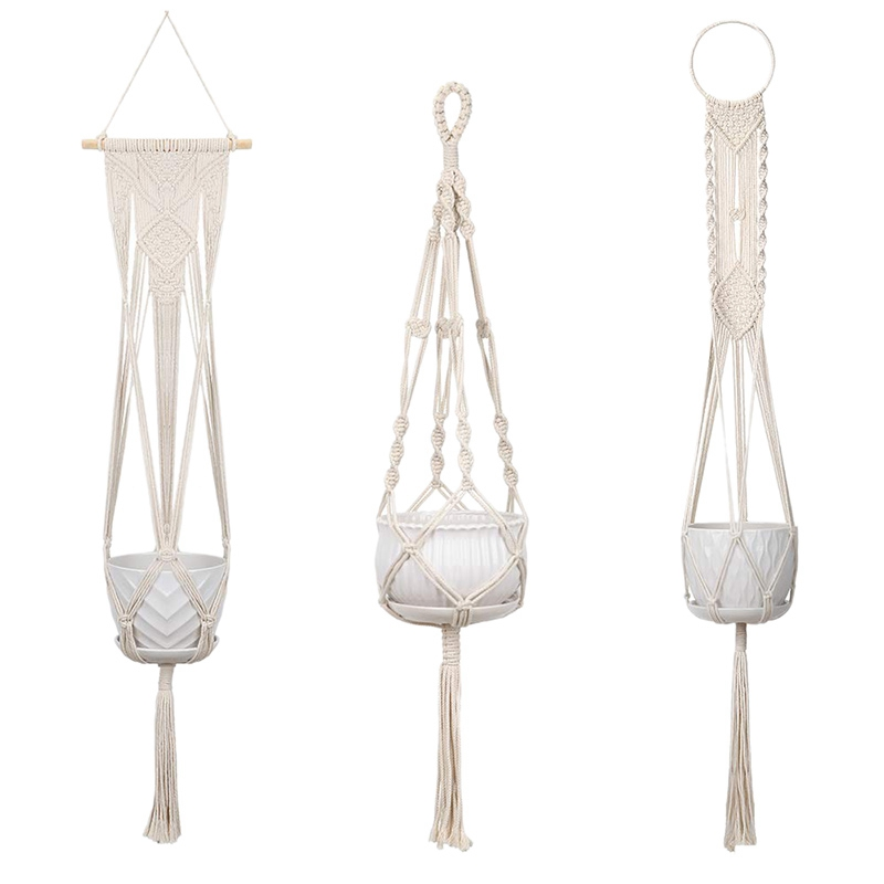 3 Pack Macrame Plant Hangers Hanging Planter    Wall Hanging Planters Basket Holder For Indoor Outdoor With Hooks   Boho Home De|Flower Pots & Planters| |  -