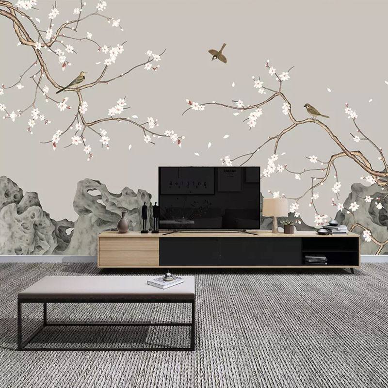 Modern Minimalist Sofa TV Backdrop 3D Wallpaper New Chinese Style Hand-Painted Fine Brushwork Flowers And Birds Magnolia Wall Cl