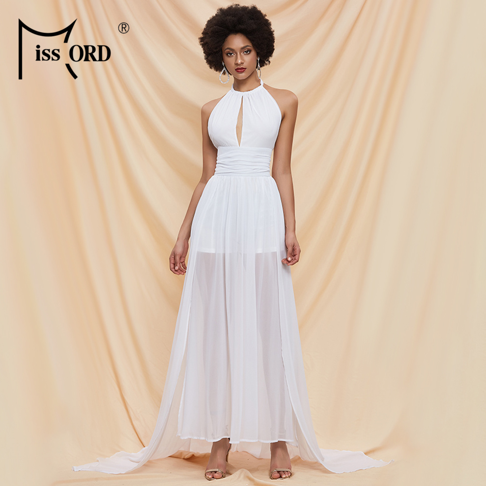 Missord 2020 Summer O Neck Off The Shoulder Backless Women Maxi Dress Hallow Out Chiffon Holiday Beach Dresses FT20214