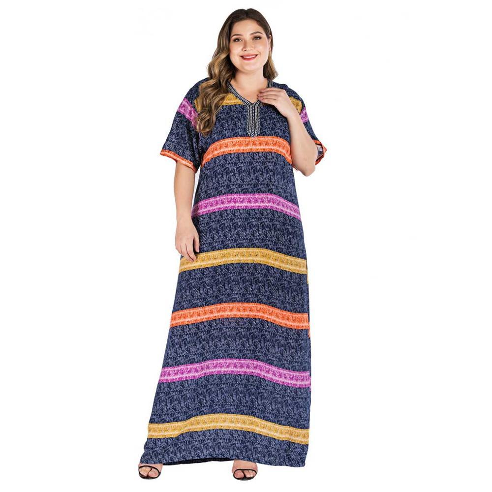 2019 Plus Size Strip Print Boho Dress Women Summer Tunic Short Sleeve Straight Shift Geometric Maxi Dresses VKDR1825