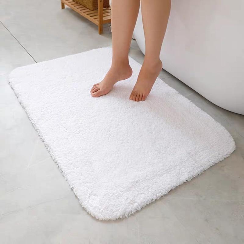all cotton bathroom carpet hotel home bath mat white fluffy bathroom floor mat bathtub side towel absorbent toilet rugs non slip