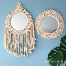 Round Macrame Handmade Makeup Decorative Mirror Wall Tapestry For Mirror Decor Bedroom Livingroom Bathroom Home Decor Shower