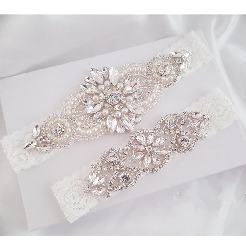 Wedding Garter Set Bridal Garter Set Lace Garter Set Crystal Rhinestone Pearl Bridal Garter