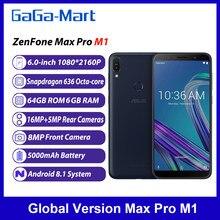 Versão global asus zenfone max pro m1 4g 6 polegadas octa-core android 8.1 6gb ram 64gb rom 16mp + 8mp 5000mah face id smartphone