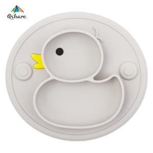 Qshare Baby Plate Duck Dishes Table Mat Silicone platos Suction Tray Antislip Mini Mat Children Kids Meal Fruits Feeding pratos(China)
