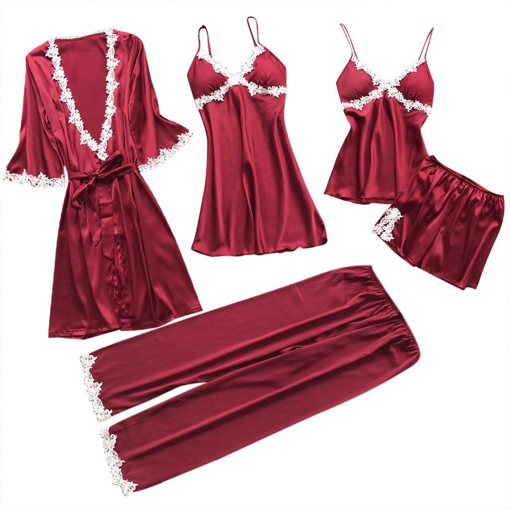 Sexy Women Robe&Gown Sets Lace Bathrobe + Night Dress 5Pcs Sleepwear Womens Sleep Lounge Set Faux Silk Robe Femme Lingerie @50