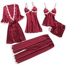 Sexy Women Robe&Gown Sets Lace Bathrobe + Night Dress 5Pcs Sleepwear Wo
