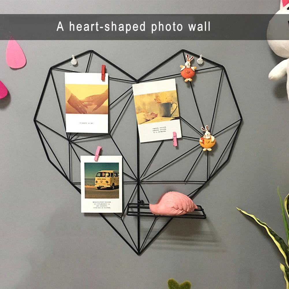 נורדי סגנון מתכת מיתרי תמונות גלויות מסגרת תצוגת אמנות אחסון מתלה בעל קפה לב קיר תליית מדף קליפים בית תפאורה