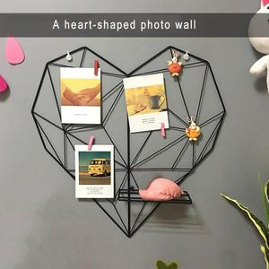Nordic Style Metal Cords Photos Postcards Frame Display Art Storage Rack Holder Cafe Heart Wall Hanging Shelf Clips Home Decor