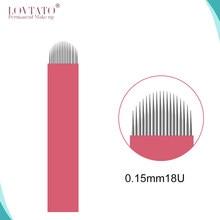Micro-lames Tebori 0.15mm, aiguille de tatouage permanente, maquillage 18u, sourcils manuels Nano, avec LOT NO. Date D'EXP