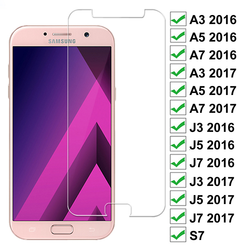 Vidrio de protección completa 9D para Samsung Galaxy A3 A5 A7 J3 J5 J7 2017 2016 S7 Protector de pantalla templado de seguridad