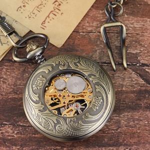 Image 3 - レトロ中空刻ま機械式懐中時計ヴィンテージポケットはブロンズゴールド Fob チェーンネックレスフリップ巻時計