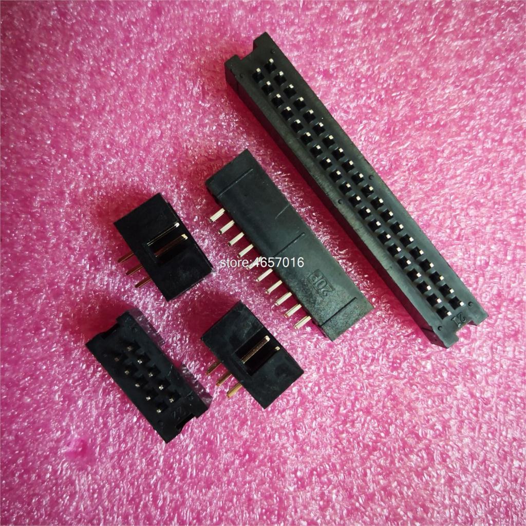 10PCS Pitch 2.54mm DC3 6/8/10/14/16/20/26/30/34/40/50 Pin 2x3/4/5/7/13Pin Straight Male Shrouded PCB IDC Socket Box Header JTAG
