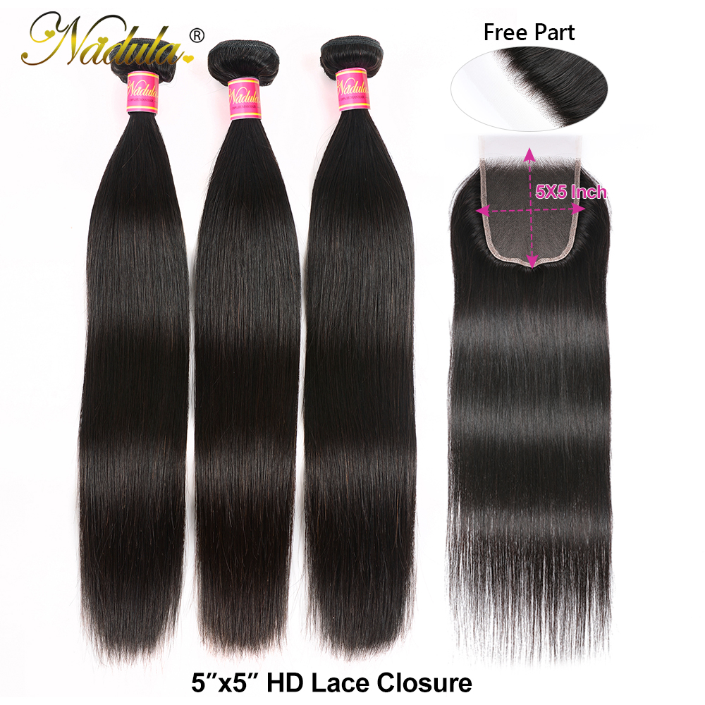 Nadula Hair 3 Bundles  Straight Hair With Closure 4*4 Lace Closure With  s Straight Bundles With Closure 3
