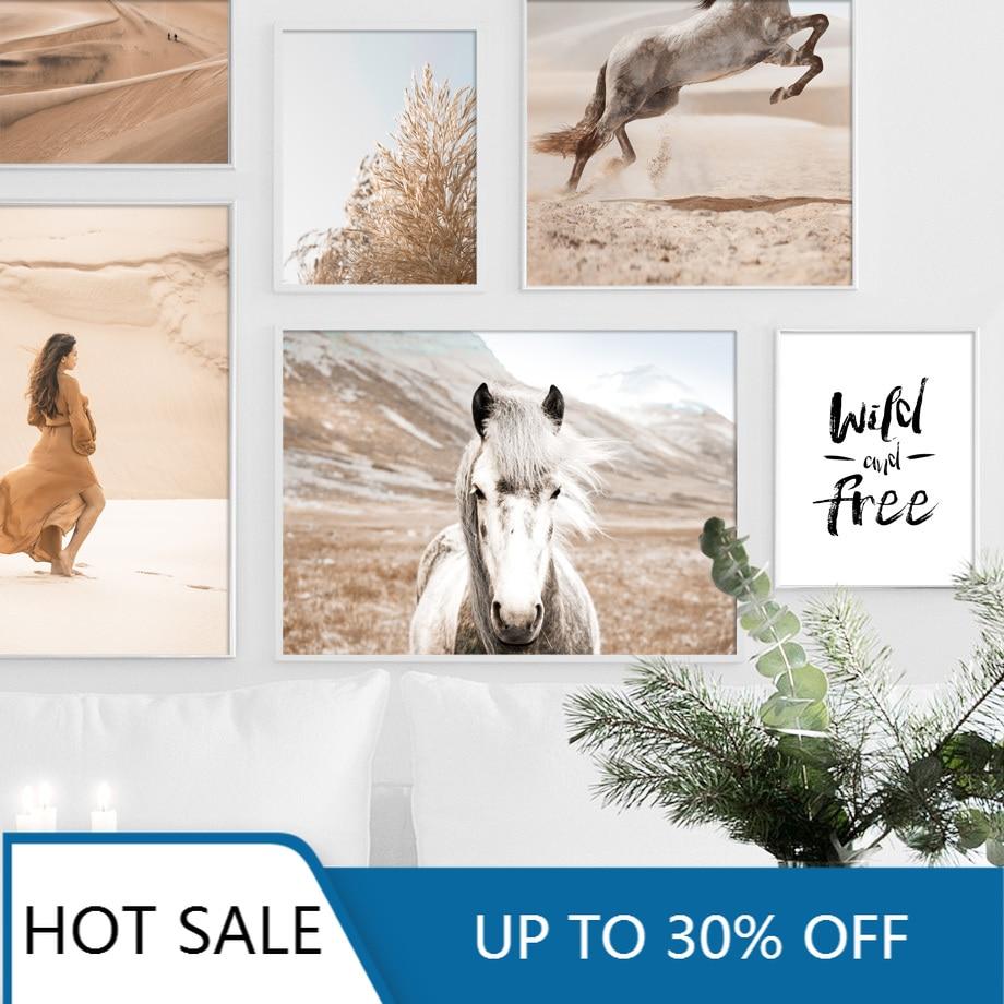 Пустыня лошадь девушка трава дикая бесплатно цитаты настенное искусство холст живопись плакаты скандинавские принты Настенный декор картины для гостиной Декор