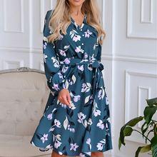 Осенне зимняя женская одежда винтажное платье с длинным рукавом